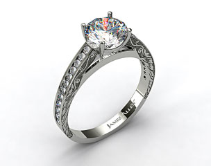 18k White Gold Engraved Channel Set Round Shaped Diamond Engagement Ring